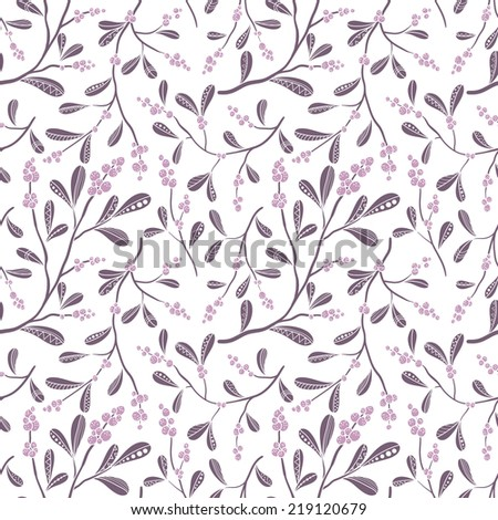 Christmas seamless pattern with mistletoe - stock vector