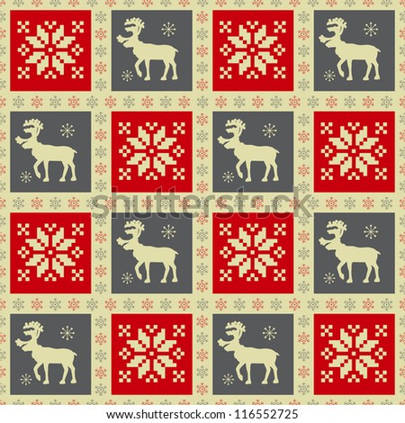 Christmas seamless pattern with reindeer - stock vector