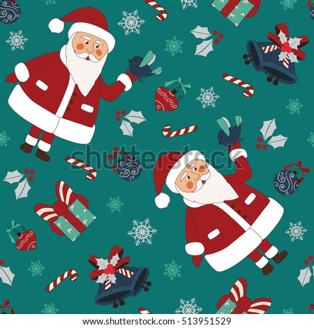 Christmas seamless pattern with santa, bird, gifts and others elements. Pattern Swatches, vector, Endless texture can be used for wallpaper, pattern fills, web page,background,surface. EPS 8