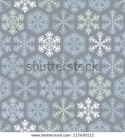 Christmas seamless pattern with snowflakes in retro style. - stock vector