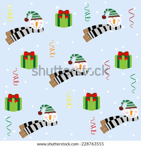 Christmas seamless pattern with snowman. The pattern can be repeated or tiled without any visible seams. Swatch is included. - stock vector