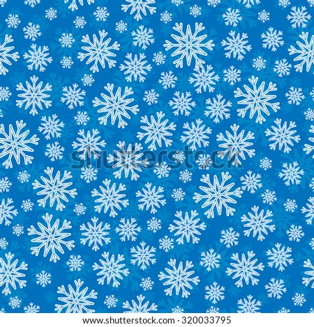 Christmas seamless pattern with white blue snowflakes and layer substrate over blue - stock vector