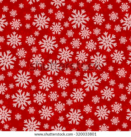 Christmas seamless pattern with white red snowflakes and layer substrate over red - stock vector