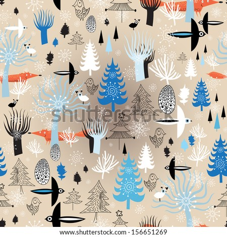 Christmas seamless pattern with winter forest and birds on a light background with snowflakes  - stock vector