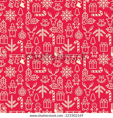 Christmas seamless pattern. Wrapping paper pattern in vintage style. Cute Xmas characters. Deer head. Snowman in hat. Gingerbread man. New Year icons. - stock vector