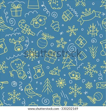 Christmas seamless pattern. Xmas hand-drawn elements - stock vector