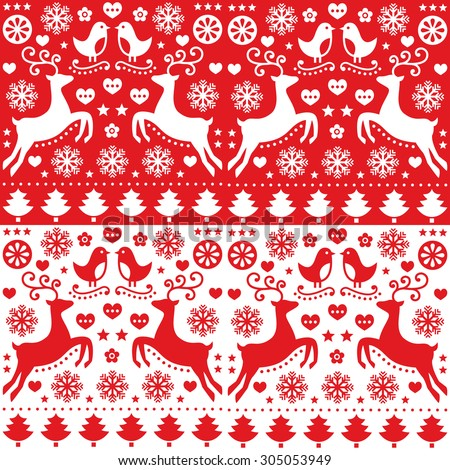 Christmas seamless red pattern with reindeer - folk style - stock vector