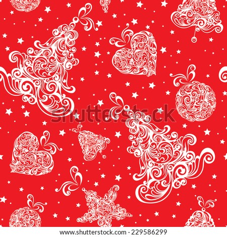 Christmas seamless red retro pattern. Vector illustration. - stock vector