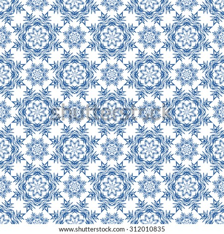 Christmas seamless repeating pattern with snowflakes on a white background. Vector  illustration - stock vector