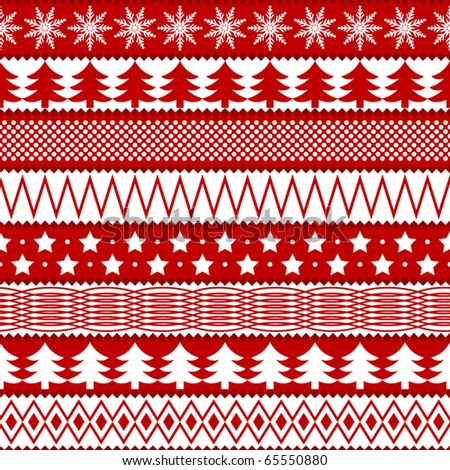 Christmas seamless texture in traditional colors - stock vector