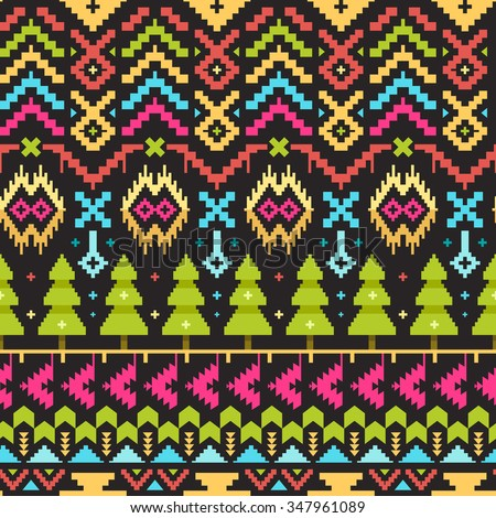 Christmas Seamless Tribal Pattern for Textile Design. Geometrical Ornament with Colorful Triangles and Stripes. Pixel Art Background - stock vector