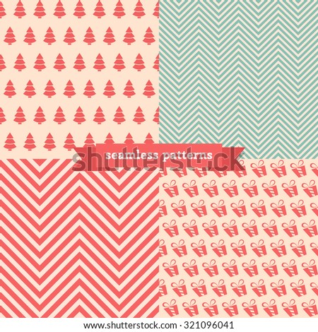 Christmas seamless vector pattern set - stock vector