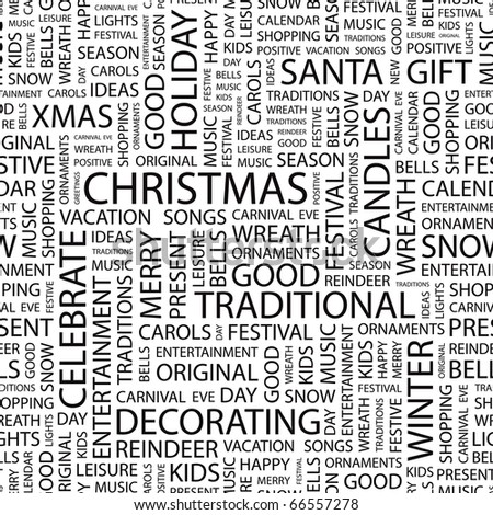 CHRISTMAS. Seamless vector pattern with word cloud. Illustration with different association terms. - stock vector