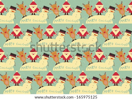 Christmas Seamless Vintage background. Signs of Christmas: Santa Claus, Snowman, Deer on retro background. Vector illustration. - stock vector