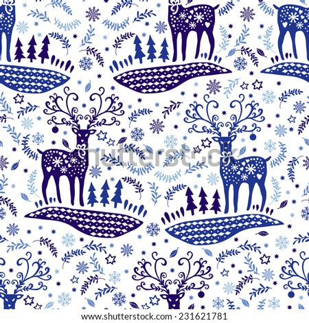 Christmas Seamless with deers. Hand drawing. Christmas decorations. Seamless pattern for fabric, paper and other printing and web projects. - stock vector