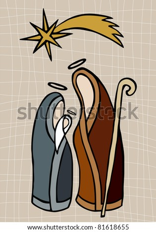 Christmas season: Jesus, Mary and Joseph under the shining star of Bethlehem - stock vector