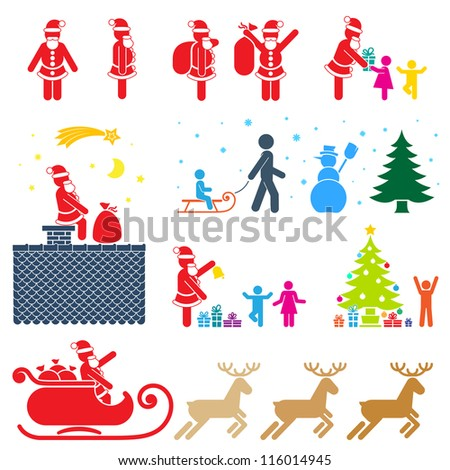 CHRISTMAS SEASON PICTOGRAM SYMBOL COLOR ICON SET - stock vector