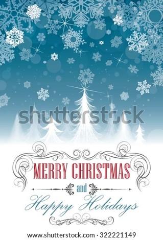 Christmas seasonal card - stock vector