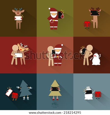 Christmas Selfie. Colored Vector Icons Set - stock vector