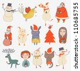 Christmas set. Cartoon characters in holiday style - stock vector