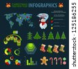 Christmas set elements of infographics. World Map and Information graphics. Vector illustration. - stock photo