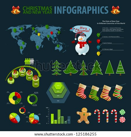 Christmas set elements of infographics. World Map and Information graphics. Vector illustration. - stock vector