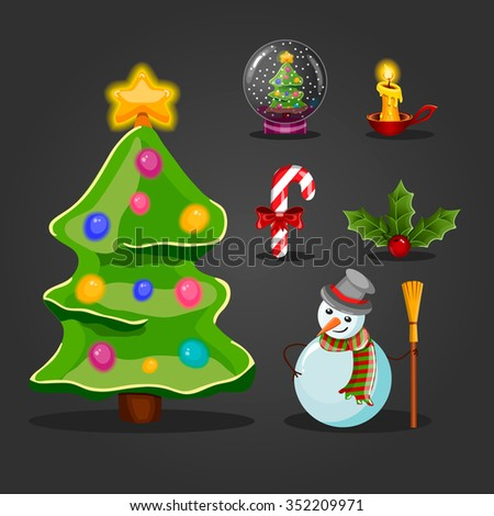 Christmas set for game interface design. Holiday objects collection.