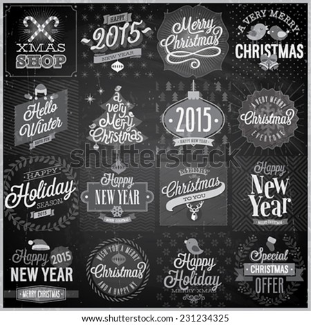 Christmas set - labels, emblems and other decorative elements - Chalkboard. - stock vector