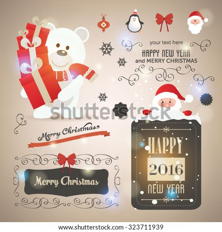 Christmas set - labels, emblems and other decorative elements. Cute Santa Claus and friends. Vector illustration - stock vector