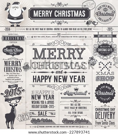 Christmas set - labels, emblems and other decorative elements. Newspaper stile. - stock vector