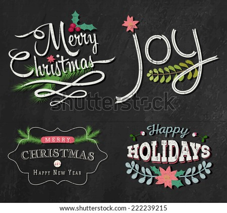 Christmas set - labels, emblems and other decorative elements on - stock vector