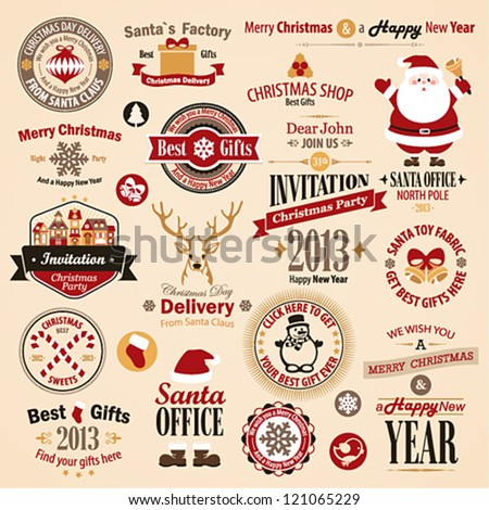 Christmas set - labels, emblems and other decorative elements. Vector illustration. - stock vector