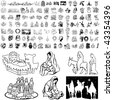 Christmas set of black sketch. Part 103-31. Isolated groups and layers. - stock photo