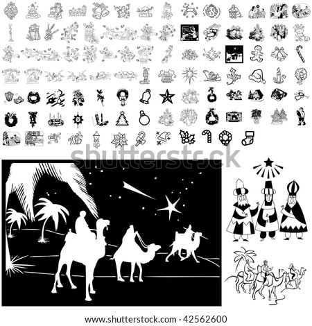 Christmas set of black sketch. Part 102-5. Isolated groups and layers. - stock vector