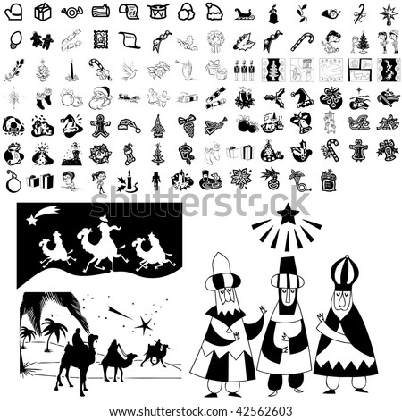 Christmas set of black sketch. Part 102-6. Isolated groups and layers. - stock vector
