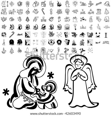 Christmas set of black sketch. Part 102-12. Isolated groups and layers. - stock vector