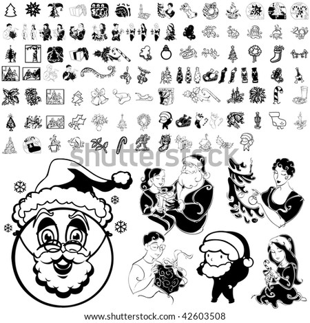 Christmas set of black sketch. Part 102-18. Isolated groups and layers. - stock vector