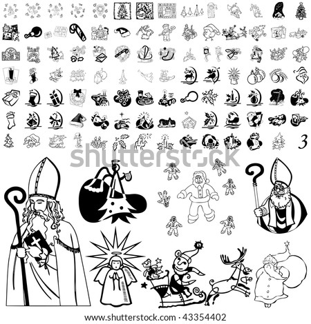 Christmas set of black sketch. Part 103-33. Isolated groups and layers. - stock vector
