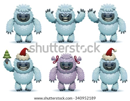 Christmas set of cute furry funny yetis, vector - stock vector