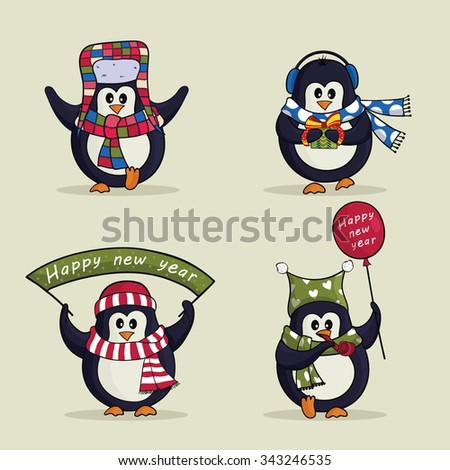 Christmas set of cute penguins. Vector illustration - stock vector