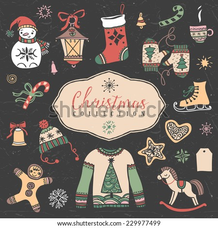 Christmas set of hand drawn festive illustrations. Design elements. - stock vector