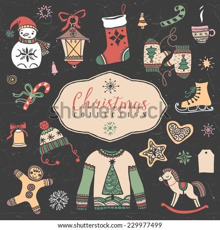 Christmas set of hand drawn festive illustrations. Design elements. - stock vector