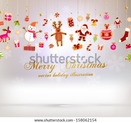 Christmas set of icons and elements, blurred snowflakes, vector
