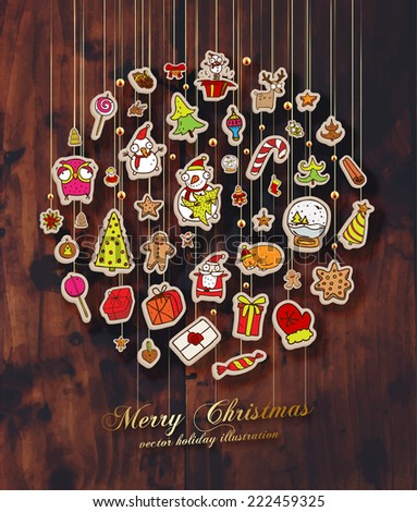 Christmas Set of Icons, Labels and Xmas Elements, Blurred Snowflakes, vector. Christmas Tree Paper Toys and Decorations. Template for Holiday Poster, Banner, Placard or Card. Wood Texture Background. - stock vector