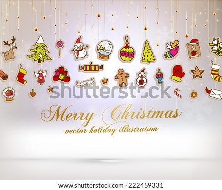 Christmas Set of Icons, Labels and Xmas Elements, Blurred Snowflakes, vector. Christmas Tree Paper Toys and Decorations. Template for Holiday Poster, Banner, Placard or Card. - stock vector