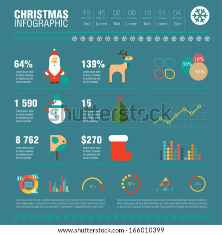 Christmas set of infographics elements, icons. Flat modern design. Vector EPS10. Merry  Christmas and Happy New Year! - stock vector