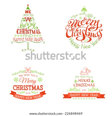 Christmas set of labels and emblems. Red and green decorative elements isolated on white background.