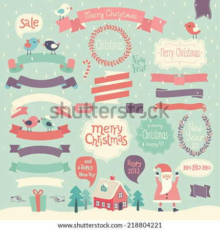Christmas set - ribbons and other decorative elements. - stock vector