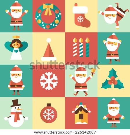 Christmas set - Santa Claus and other characters, different poses and different emotions and other elements. Vector illustration in flat style. - stock vector
