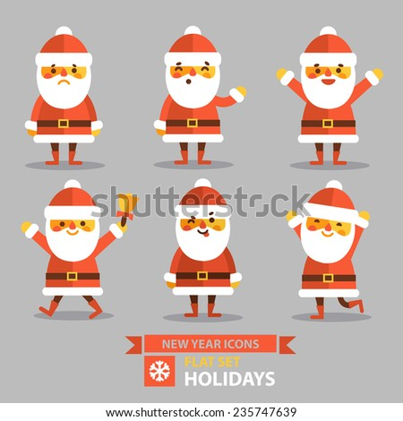 Christmas set - Santa Claus different poses and different emotions. Vector illustration in flat style. - stock vector